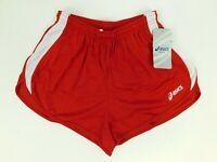 Asics Womens Medley 1/2 Split Runners Shorts Red W/Drawstring Size Medium