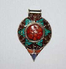 Ethnic Handmade Sterling Silver Pendant Turquoise Tribal Mu1