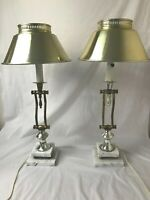 "2 Brass Metal Marble Base Buffet Table Hallway Lamp Set 23""H Adjustable Height"