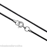 1mm GENUINE BLACK LEATHER CORD NECKLACE 925 STERLING SILVER CLASP 7 LENGTHS