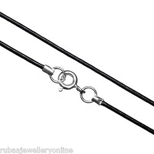 1mm GENUINE BLACK LEATHER CORD NECKLACE 925 STERLING SILVER CLASP 8 LENGTHS