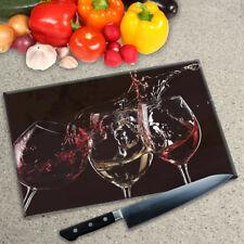 Premier Range Digital Print Worktop Saver Chopping Board - 3 Glasses of Wine