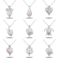 Pearl Cage Locket Pendant Charms Oyster Pearl Necklaces Chain Christmas Gift DIY