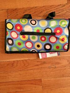 Blue With Multicolored Polkadot Fold-up Rolling Tote..12.5 x 21 inches