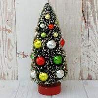 Vintage Japan 8 In Flocked Green Bottle Brush Christmas Tree Mercury Glass Balls