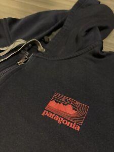 Patagonia Full-Zip Hoodie Jacket Sweatshirt Polyester Blue 2XL
