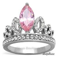 Women's Queen Royalty Tiara Crown Pink CZ Stainless Steel Fashion Ring Size 5-10