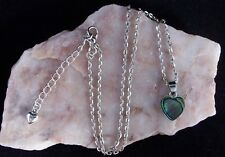 Pāua Abalone Shell 12mm Heart Pendant, Tibetan Silver Chain Necklace.Handmade