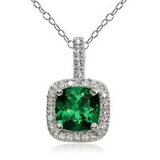 Sterling Silver 1.95ct Created Emerald & White Topaz Cushion-Cut Necklace