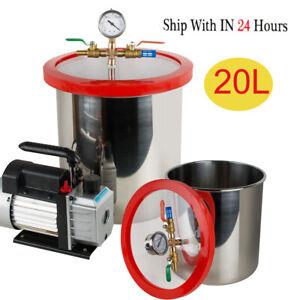 20L/5 Gallon Stainless Vacuum Degassing Chamber Kit 3CFM Pump Canada Stock