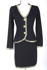 ST.JOHN Womens Suit Knit Black Gold Studs Trim Rhinestone Jacket Skirt Sz 6