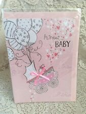 A New Baby Greeting Card Pink Ballons Baby Stroller Hearts White New