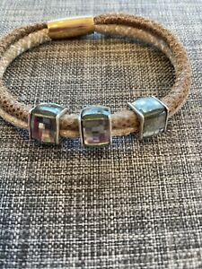 Brighton WOODSTOCK DOUBLE Tan Beige Brown Bracelet W/3 Swarovski Crystal Beads!!