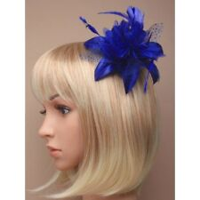 Royal blue with chiffon flowers and feather tendrils fascinator comb