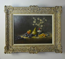 ORIGINAL Oil Painting FRAMED Fruit Flowers Still Life by Artist NOEL RIPLEY