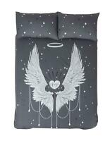 ANGEL WINGS GREY COTTON BLEND DOUBLE DUVET COVER