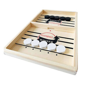 22'' Wooden Fast Sling Puck Game Paced Sling Winner Hockey Board Toys Adult Kids