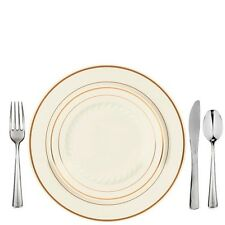 100 Full Settings Masterpiece Style Bone-Gold Band Salad+Dinner Plates+Cutlery