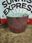 ANTIQUE PRIMITIVE SHAKER WOODEN RED/GREEN PAINTED WOOD SAP BUCKET
