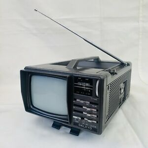 Vintage Retro Dalkyo Mini Portable 5¨ Television and Radio Grey 1980s
