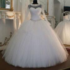 Elegant Ball Gown Wedding Dresses Long Sleeve Bead Bridal Gowns Custom  Size