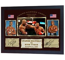 Mike Tyson Evander Holyfield Boxing Autograph signed print photo Framed