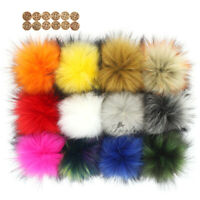 Wholesale 12X Faux Raccoon Fur 14CM/5.5inch Pompom Ball for Beanie Hats Knitting