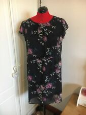 F&F Black Floral Fully Lined Tunic Cap Sleeved  Dress UK 16