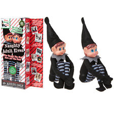 "12"" Pack of 2 Sitting Black Adult Elf Girl & Boy Christmas Naughty Toys Shelf"