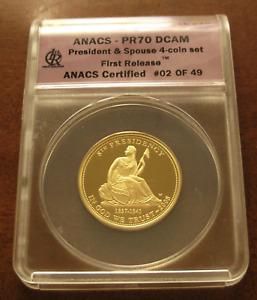 US 2008W Gold 1/2 oz $10 ANACS PF70DCAM First Spouse Series Van Buren Liberty
