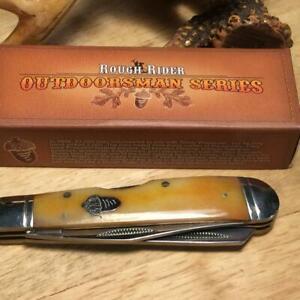 """Rough Rider Tobacco Smooth Bone Lockback Trapper 4"""" Pocket Knife  RR1070"""