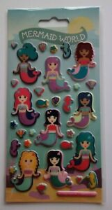Mermaid World Reusable Stickers Puffy Foam Fun Decorative Free P&P