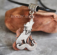 Antique Silver & Copper Plt Howling Wolf Pendant Necklace Ladies Mens Gift Norse