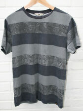 Mens LEE Striped Palm Leaf Grey T Shirt 100% Cotton Size: M (Slim Fit) RRP: £35