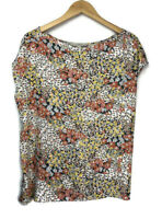Ann Taylor LOFT Mixed Media Floral Cap Sleeve Blouse Size XL Women's Top