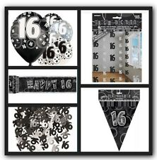 16th Happy Birthday Party Supplies Decorations Pack In Black