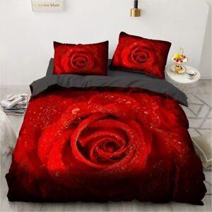 3D Bedding Set Custom 3PCS Duvet Cover Set Quilt/Comforter Pillow Case Red Rose