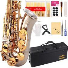 Eb Alto Saxophon w/11reeds 8 Pads Strap Case Care Kit -Silver w/Gold Keys