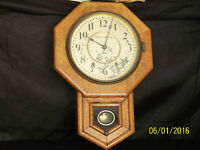 "Antique Seth Thomas Oak Case Wall Clock- ""Works"""