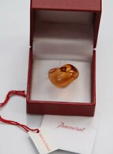 BNIB Baccarat France Crystal Galet Wave Ring - Honey / Pale Orange - UK Size M