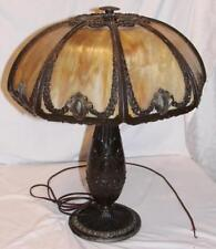 Bradley & Hubbard Slag Glass Lamp Amber Brown Ornate 3 Sockets GORGEOUS
