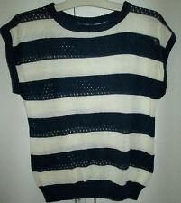 Ladies Navy White Stripe Knit Style Top Sleeveless Size Small