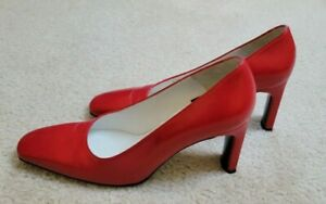 Vintage Charles Jourdan Classic Lipstick Red Leather Pumps, Size 7.5