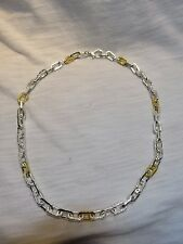 Gurhan Sterling Silver Two Tone 24K Gold Vermeil Hammered Oval Link Necklace