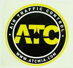 "Air Traffic Control ATC Miami Yellow & Black Round Promotional Decal Sticker 4"""