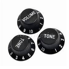 3 Pcs 1 Volume 2 Tone Guitar Control Knobs For Fender Strat Replacement Black