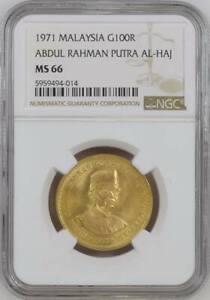 MALAYSIA , GOLD 100 RINGGIT 1971 UNC - NGC MS 66  AL-HAJ ABDUL RAHMAN ,RARE