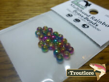 "25 PIECES MULITHUED RAINBOW BRASS BEAD HEADS 5/32"" 3.8mm HARELINE NEW FLY TYING"