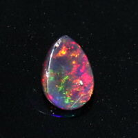 1.25 TCW  7X10 MM NATURAL ETHIOPIAN WELO FIRE OPAL BLACK PEAR CABOCHON 112