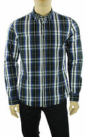 NEW MENS WOOLRICH LONG SLEEVE BLUE PLAID COTTON BUTTON FRONT CASUAL SHIRT M